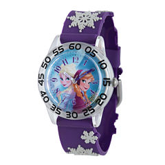 Disney Frozen Anna and Elsa Kids Time Teacher Textured Snowflake Strap Watch