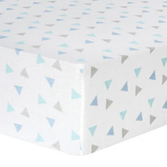 Trend Lab® Mint Triangle-Print Fitted Flannel Crib Sheet