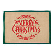 Merry Christmas Set of 4 Burlap Placemats