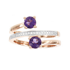 Rose Gold Over Silver 1/10cttw Diamond And Genuine Amethyst Spiral Ring
