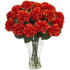 Nearly Natural Carnation Arrangement With Vase