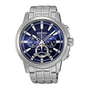 Seiko® Mens Solar Stainless Steel Chronograph Sport Watch SSC387