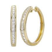 1/2 CT. T.W. Diamond 14K Gold Over Sterling Silver Hoop Earrings