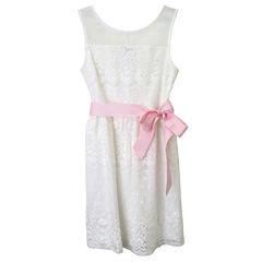 Lilt Sleeveless Allover Lace Ivory Dress - Girls' 7-12