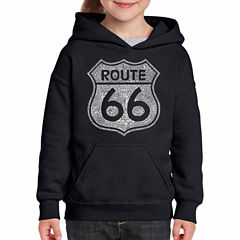 Los Angeles Pop Art Cities Along The Legendary Route 66 Long Sleeve Sweatshirt Girls
