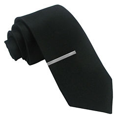 JF J. Ferrar® Black Satin Tie and Tie Bar Set - Slim