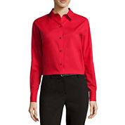 Liz Claiborne® Faux Leather Jacket, Brutton Front Shirt or Skinny Jeans