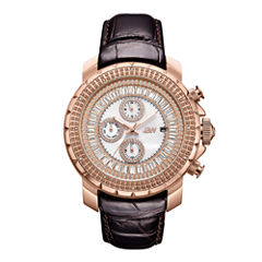 JBW 18k Rose Gold-Plated Stainless Steel Titus Mens Brown Strap Watch-J6347l-C