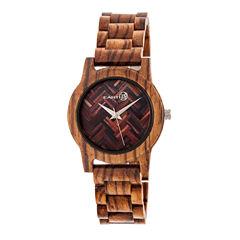 Earth Wood Crown Unisex Green Bracelet Watch-Ethew4504
