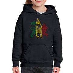 Los Angeles Pop Art Rasta Lion - One Love Long Sleeve Sweatshirt Girls