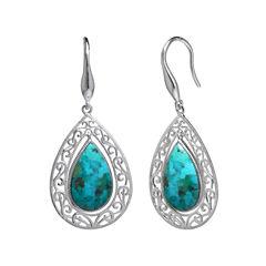 Enhanced Turquoise Filigree Sterling Silver Teardrop Earrings
