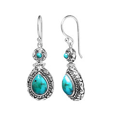 Enhanced Turquoise Oxidized Sterling Silver Teardrop Earrings