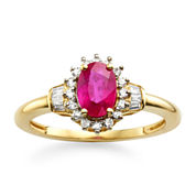 Lead Glass-Filled Ruby & 1/4 CT. T.W. Diamond 10K Gold Ring