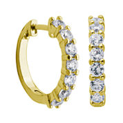 DiamonArt® 18K Yellow Gold over Silver CZ Hoop Earrings