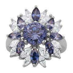 DiamonArt® Sterling Silver Tanzanite & White Cubic Zirconia Flower Cluster Ring