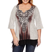 Unity™ 3/4-Sleeve Top with Chiffon Layer - Plus