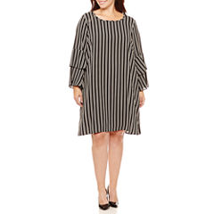 Como Black Long Sleeve Shift Dress-Plus