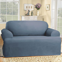 SURE FIT® Cotton Duck T-Cushion Loveseat Slipcovers