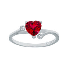 Lab-Created Ruby and Genuine White Topaz Sterling Silver Heart-Shaped Ring