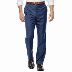 Stafford® Travel Medium Blue Flat-Front Suit Pants - Slim Fit