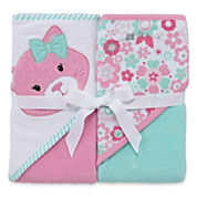 Okie Dokie Girl Hood Towel 2 Pk Set Pink Cat