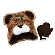 Fuzzy Bear Hat & Mittens Set- Toddler Boys