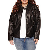 Jou Jou Center-Zip Multi-Zip Pleather Jacket  - Juniors Plus