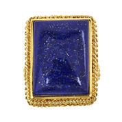 LIMITED QUANTITIES  Genuine Lapis 18K Yellow Gold Over Silver Ring