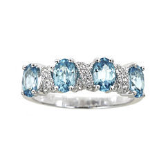 LIMITED QUANTITIES  Genuine Blue Zircon and Lab-Created White Sapphire Ring