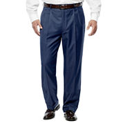 Stafford Travel Stretch Mid Blue Pleated Pants-Portly