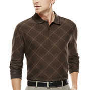 Haggar® Long-Sleeve Jacquard Knit Polo