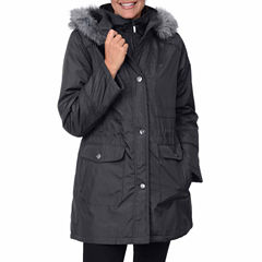 Fleet Street Bonded Stadium Anorak with Faux-Fur Trim Hood