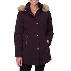 Fleet Street Faux-Silk Stadium Parka with Faux-Fur Trim Hood
