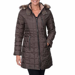 Fleet Street Box Quilt Faux-Down Puffer Jacket with Faux-Fur Hood