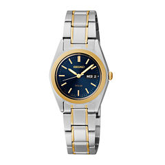 Seiko® Womens Two-Tone Blue Solar Watch SUT110