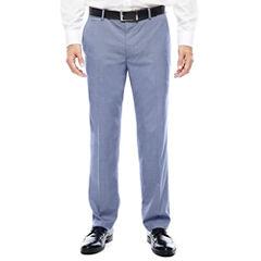 JF J. Ferrar® Blue Pattern Flat-Front Suit Pants - Slim Fit