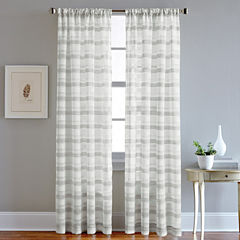 Albury Stripe Rod-Pocket Sheer Curtain Panel