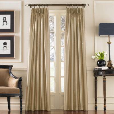 Marquee Faux Silk Pinch Pleat Back TabCurtain Panel