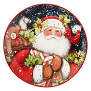 Certified International Snowy Santa Set of 4 Dessert Plates