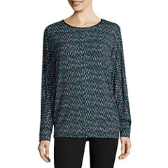 Worthington® Long-Sleeve Dolman Top with Faux Leather Trim