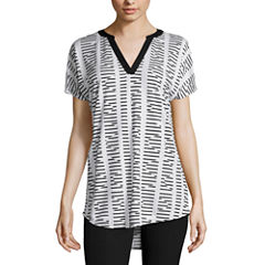 Worthington® Short-Sleeve V-Neck Blouse with Metallic Trim