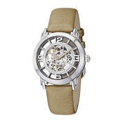 Stührling® Womens Tan Leather Strap Skeleton Automatic Watch