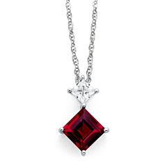 Lab-Created Ruby & White Sapphire Pendant Sterling Silver Necklace