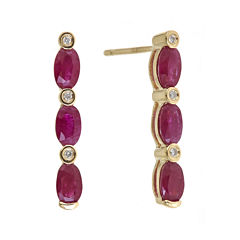 LIMITED QUANTITIES  Lead Glass-Filled Ruby and Diamond-Accent Linear Earrings