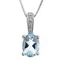 LIMITED QUANTITIES  Genuine Aquamarine and Diamond-Accent Pendant Necklace