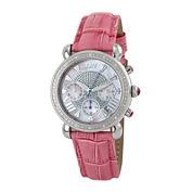 JBW Victory Womens 1/6 CT. T.W. Diamond Pink Leather Strap Watch JB-6210L-E