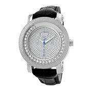 JBW Hendrix Womens 1/4 CT. T.W. Diamond Black Leather Strap Watch JB-6211L-G