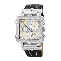 JBW Phantom Mens 2⅜ CT. T.W Diamond Square Black Leather Strap Watch JB-6215-238-B