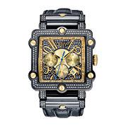 JBW Phantom Mens 2⅜ CT. T.W Diamond Square Black Leather Strap Watch JB-6215-238-F