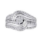 diamond blossom 1 CT. T.W. Diamond Cluster Swirl Sterling Silver Ring